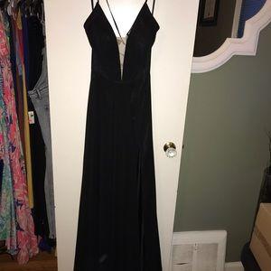 Betsy & Adam black formal maxi dress